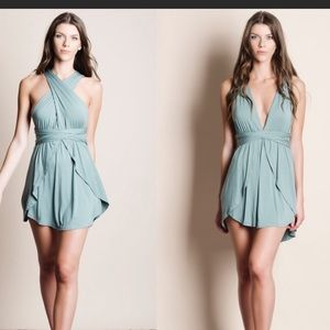 NWOT  Green Mini dress with multiple top options